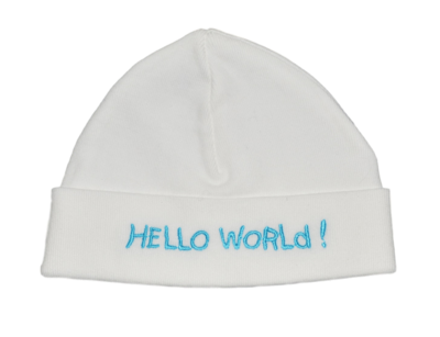 Babymutsje Hello World blauw