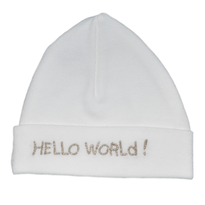 Babymutsje Hello World grijs