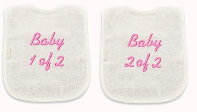 Tweeling: Set slabbetjes: baby 1 of 2/ baby 2 of 2